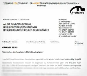 ProHunde Berufsverband fordert Einstufung als Gewerbetreibende / Dienstleister